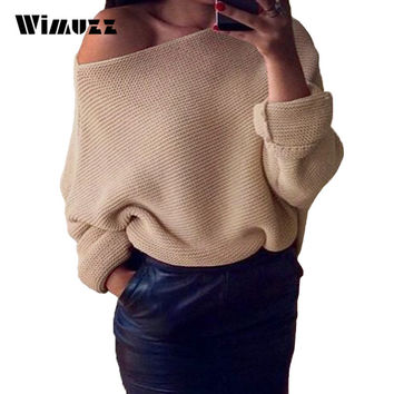 Wimuzz Sexy One Shoulder Women Knitted Sweater White Batwing Sleeve Casual Sweaters Winter Pullover