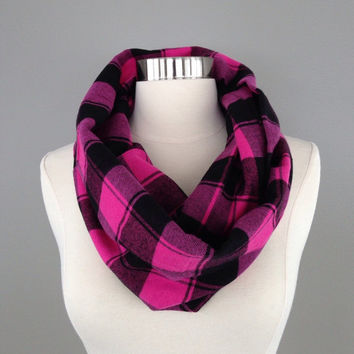 Women's hot pink black buffalo plaid flannel infinity scarf