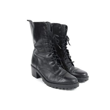 1990s Lace Up Ankle Boots Black Leather Chunky Heel Boots Womens Winter Snow Boots Grunge Mid Calf Boots Fleece Lined Combat Boots Size 8