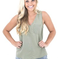 Women's V-Neck Tank with Front Pocket