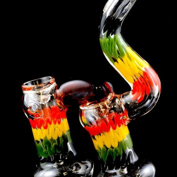 Large Sherlock Rasta Double Chamber Glass Bubbler - B891