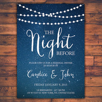 Personalized Instant Download Printable String Light Whimsical Romantic Night Sky The Night Before Wedding Rehearsal Dinner Invitation Card