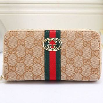 Gucci Fashion Trending Print Female Zipper Leather Wrist Hand Bag Khaki G-MYJSY-BB