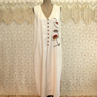 Linen Cotton Maxi Jumper Dress Sleeveless Duster Long Vest 2X Beige Embroidered Hippie Size 18 Vintage Clothing Womens Plus Size Clothing