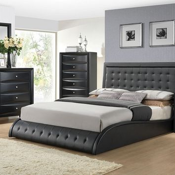 5 pc tirrel collection modern style queen black faux leather padded bedroom set with tufted accents