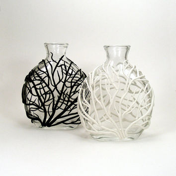 Black & White Sea Fan Pair of Glass Vases - Tidal Surge /  Clay, Ocean, Coral, Tidal, Home Decor, Bud Vase
