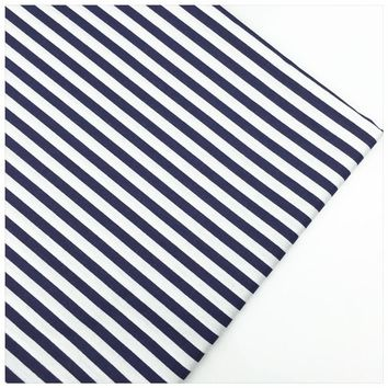 Syunss,Navy Stripes Printed 100% Cotton Fabric DIY Tissu Patchwork Telas Sewing Baby Toy Bedding Quilting Cloth Craft Tecido