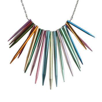 Pointed knitting needle necklace on steel chain
