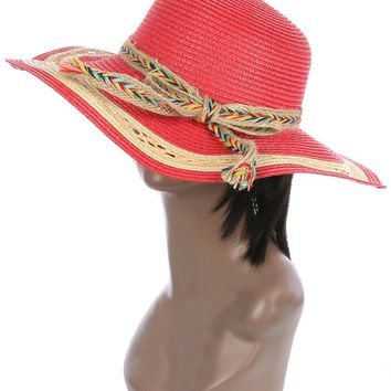 Red Braided Color Yarn Trim Floppy Straw Hat And Cap