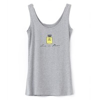 Relaxed Style Perfume/Lip and Letter Print Tank