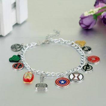 The Avengers Charm Bracelets with Enamel Captain America Inron Man Deadpool Thor Hammer Shield Charms Bracelet