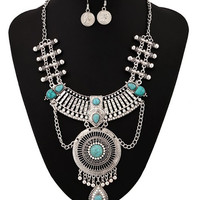 Faux Turquoise Rhinestone Coins Jewelry Set