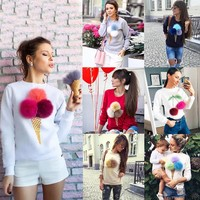 Cat ice-cream tube printing T-shirt long sleeve ladies and autumn jacket