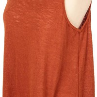 Burnt Orange Lace Bottom Tank Top | University Co-op