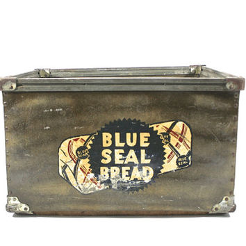 Vintage Celluloid Industrial Bread XXL Box / Vintage Industrial Crate / Blue Seal Bread