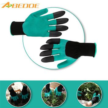 ABEDOE 1 Pair Rubber Garden Gloves with 4 ABS Plastic Waterproof Latex Claws Work Gloves for Gardening Digging Planting Raking