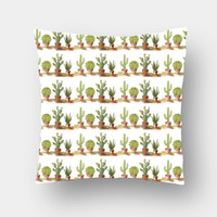 Potted Cactus Plant Rows Pattern Cushion Covers | Artist : Seema Hooda