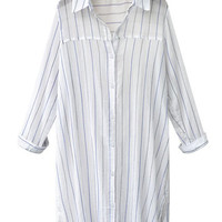 Vertical Stripe V Neck Collar Buttoned Down Long Sleeve Loose Shirt