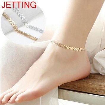 ac spbest JETTING 1Pc 25cm Women Gold Silver Arrow Ankle Chain Anklet Bracelet Barefoot Foot Jewelry Beach Accessories