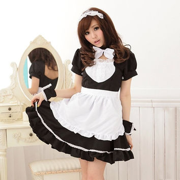 Stylish Scoop Collar Puff Sleeve Color Block Flounced Women's Maid Cosplay Costume Sweet Dress = 1843091204