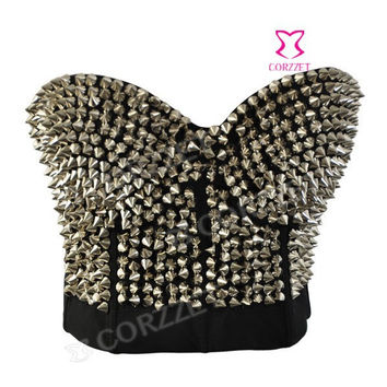 New 2014 Sexy Silver Studded Rivet Bras Fashion Women Push Up Bralet Bustier Underwear Disco Dance Bra Punk Brassiere Lingerie