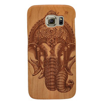 Elephant Pattern Samsung Galaxy S6 Case Unique Real Handmade Natural Wood Wooden Hard Shockproof Case
