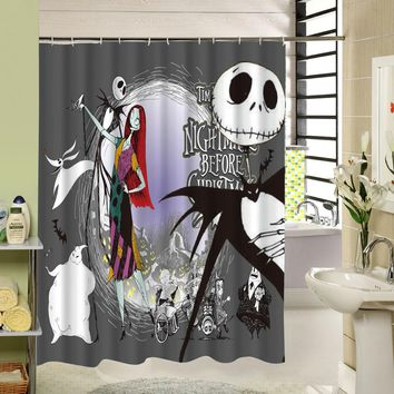 Waterproof Halloween Shower Curtain Nightmare Before Christmas Ghost Skeleton Castle Style 3D Bath Curtains Bathroom Accessories