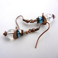 Clear quartz earrings with teal heishi beads and antiqued copper accents