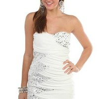 tight strapless club dress with sequin zig zag sides - debshops.com