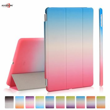 for Apple iPad Air 1 case PU Leather smart wake up sleep rainbow gradient plastic back cover for ipad 5 flip stand