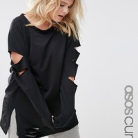 ASOS CURVE LOUNGE Longline Sweat with Split Rips at asos.com