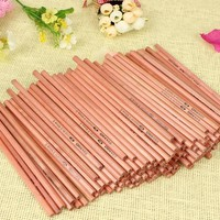 Hot 100PCs/lot Eco-friendly Wood Pencil HB Blank Hexagonal Non-toxic Standard Pencils Cute Stationery Office School Supplies