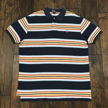 Vintage 90s Polo Ralph Lauren Cotton Striped Navy Blue Polo Shirt Mens Sz Large