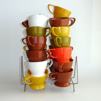 25 Vintage Solo Cup Holders with Rack, 1960s Plastic Cup Holders, Paper Coffee Cup Holders Lot, Harvest Brown Orange Avocado Gold White