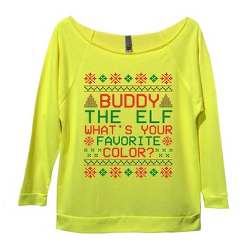 Buddy The Elf What's Your Favorite Color? Womens 3/4 Long Sleeve Vintage Raw Edge Shirt