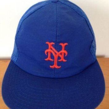 DCCKWA2 Vintage NY New York Mets Mesh Trucker Baseball Cap Hat Snapback Adjustable M-L