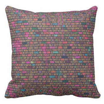 Colorful Rustic Brick Wall Texture Pillows