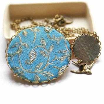 Necklace in Turquoise and Bronze with Vintage Fabric - Bird in the Fall Forest
