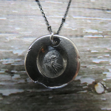 Artemis - Diana Pure Silver Antique Wax Seal and Sterling Silver Necklace ... Goddess of The Hunt