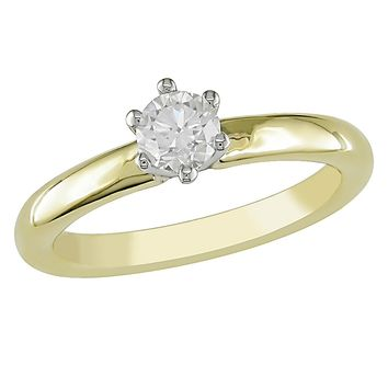 1/2 Carat Round Solitaire Diamond Six Claw Ring in 14K Yellow Gold
