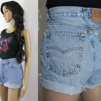 """80s high waisted DENIM SHORTS distressed cutoff jeans LEVIS 501 shorts 30"""" - c1048"""