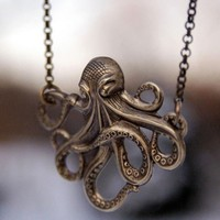 Brass Octo Necklace - $20.00 : RagTraderVintage.com, Handmade Indie Retro Accessories