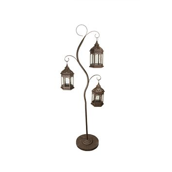 "60"" Rustic Brown Pillar Candle Holder Tree with 3 Decorative Lanterns"