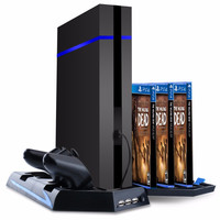 [Upgraded] PS4 Vertical Stand with Cooling Fan Cooler Fan Game Holder Dual Charging Station with USB HUB and 14 Disc Storge