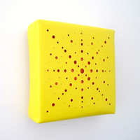 Vinyl Art Wall Hanging, Punched Design, sunny yellow matte vinyl and solid orange oilcloth