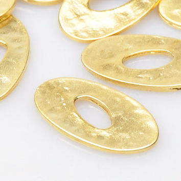 3 Pieces Gold Plated Oval Jewelry Connectors, Matte Gold Jewelry, Jewelry Making Supply, Jewelry Findings