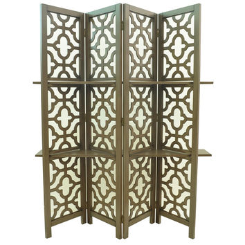 Crestview Freeport 4 Panel Screen w/ Shelves - CVFZR1021