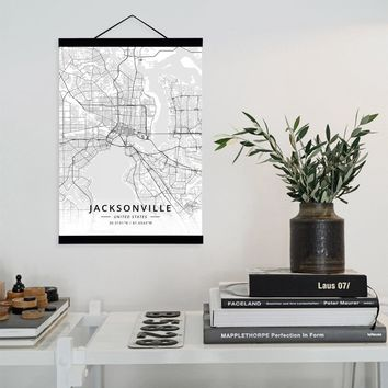 Jacksonville, United States City Map Wooden Framed Canvas Painting Home Decor Wall Art Print Pictures Poster Hanger