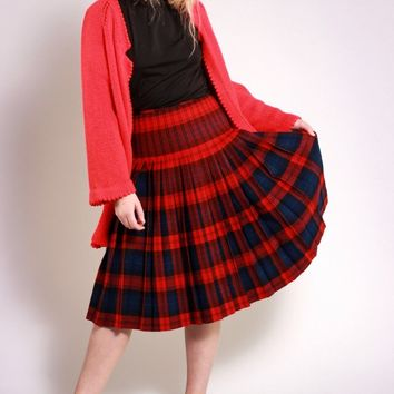 Red Plaid Pleated Wool Skirt / XS