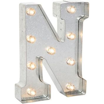 Darice Metal Marquee Letter N - Galvanized Silver 9.875 Inches